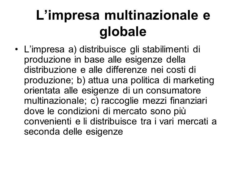 L'impresa multinazionale e globale