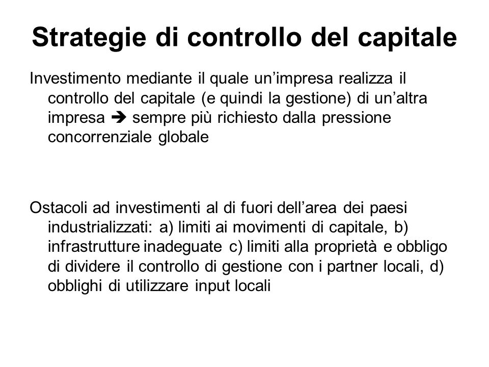 Strategie di controllo del capitale