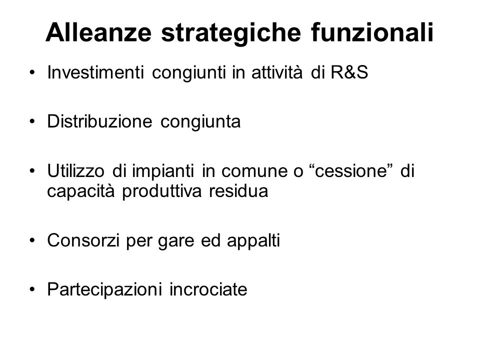Alleanze strategiche funzionali