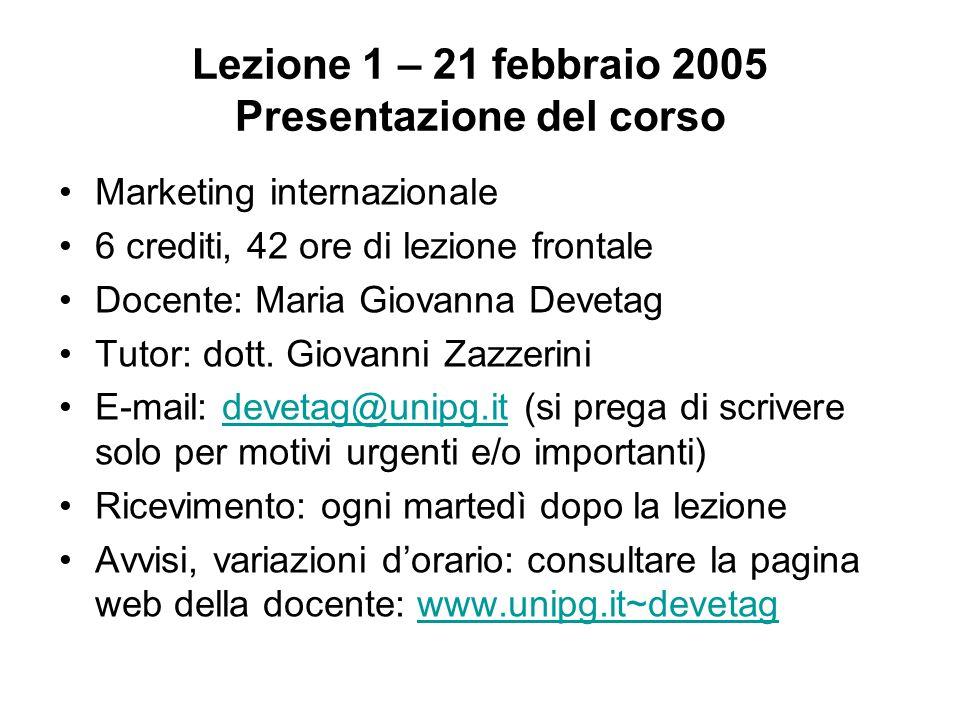 Lezione 1 – 21 febbraio 2005 Presentazione del corso