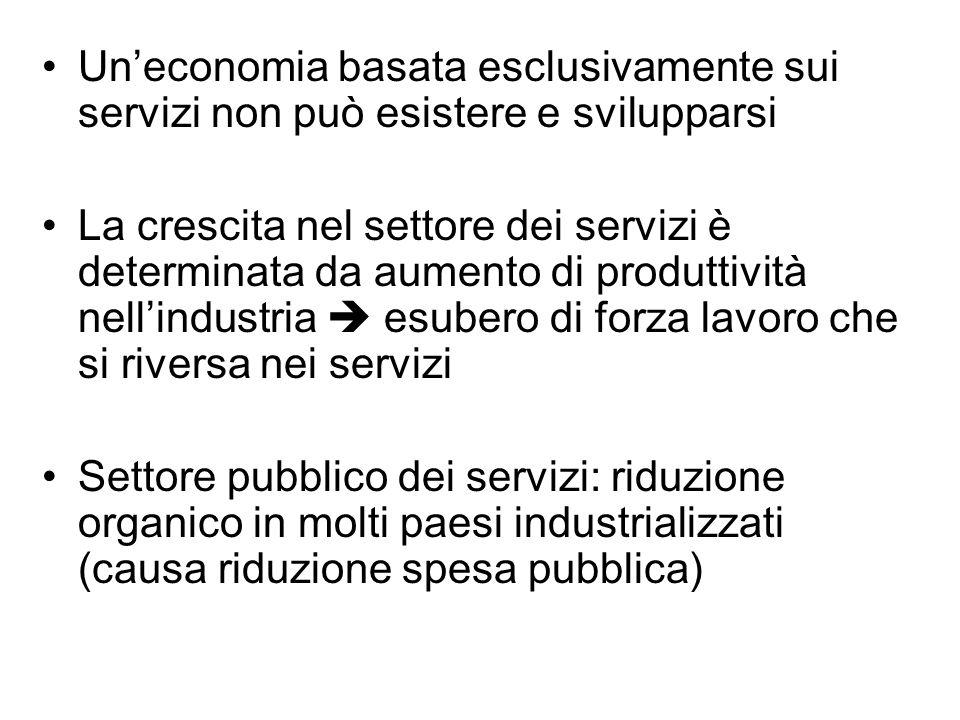 Un'economia basata esclusivamente sui servizi non può esistere e svilupparsi
