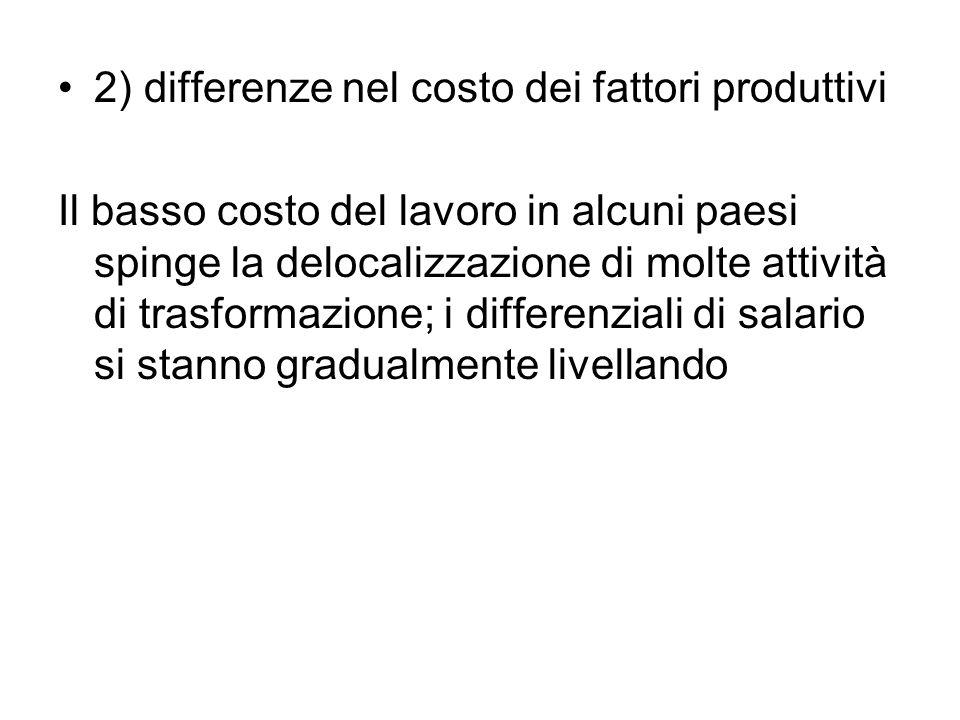 2) differenze nel costo dei fattori produttivi