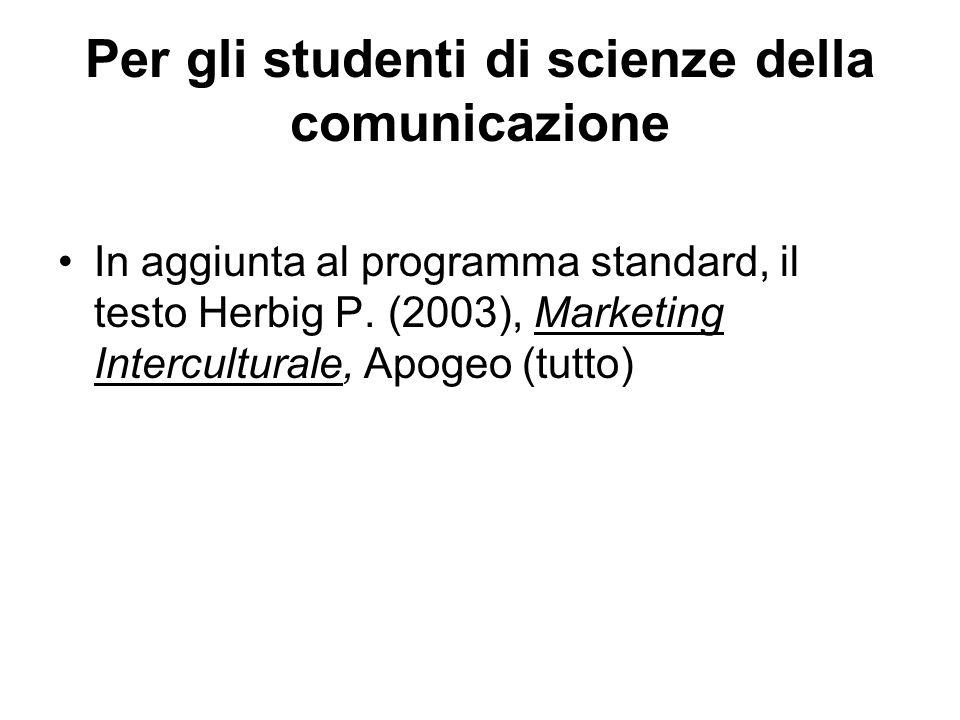 Per gli studenti di scienze della comunicazione