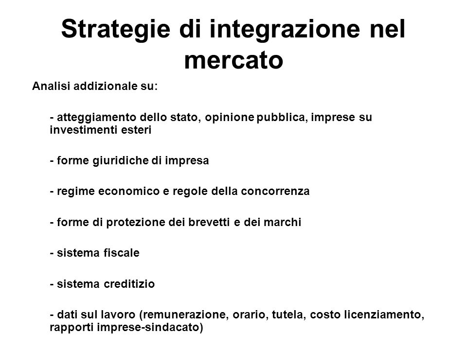 Strategie di integrazione nel mercato