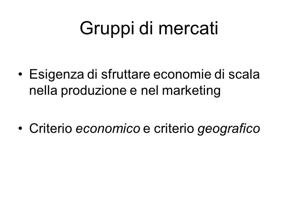 Gruppi di mercati Esigenza di sfruttare economie di scala nella produzione e nel marketing.
