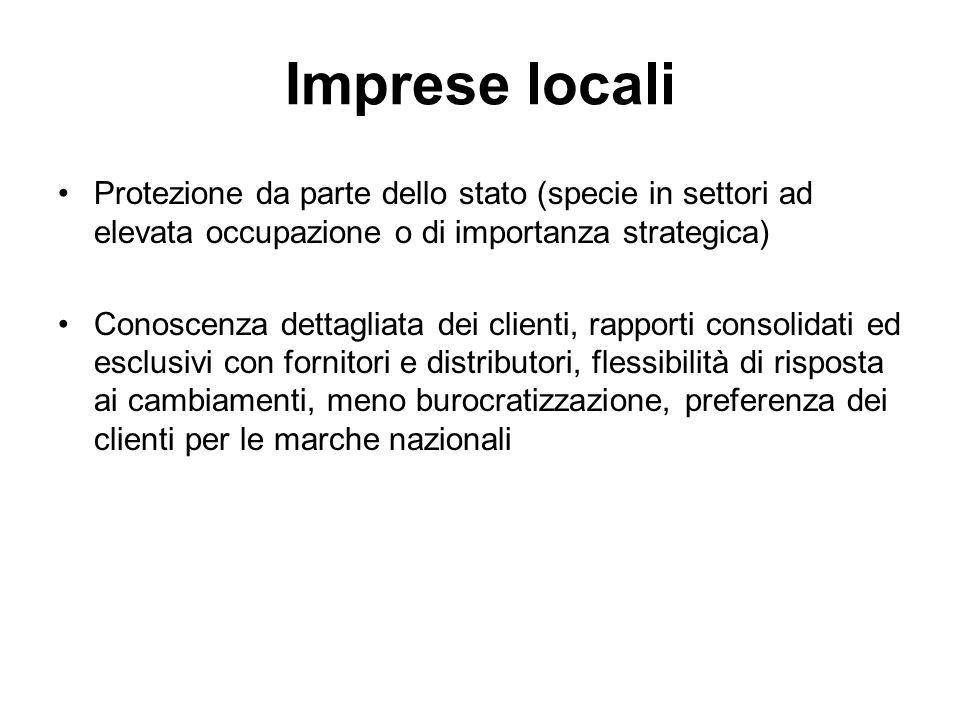 Imprese locali Protezione da parte dello stato (specie in settori ad elevata occupazione o di importanza strategica)