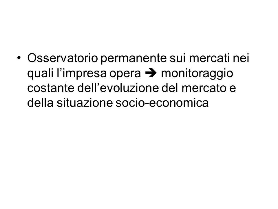 Osservatorio permanente sui mercati nei quali l'impresa opera  monitoraggio costante dell'evoluzione del mercato e della situazione socio-economica
