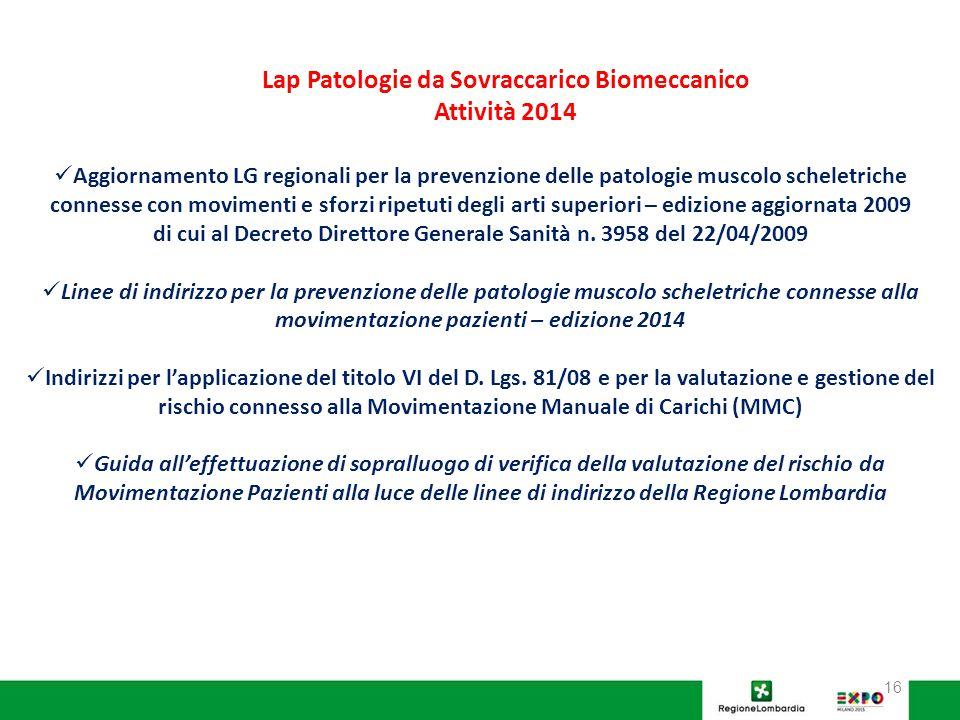 Lap Patologie da Sovraccarico Biomeccanico Attività 2014