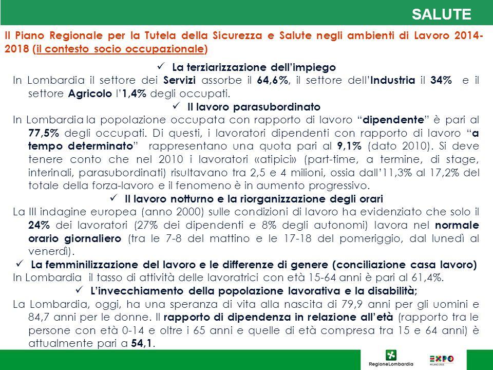 SALUTE Il Piano Regionale per la Tutela della Sicurezza e Salute negli ambienti di Lavoro 2014-2018 (il contesto socio occupazionale)