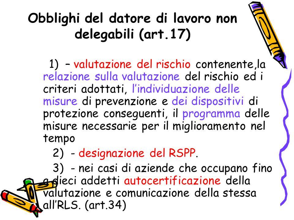 Obblighi del datore di lavoro non delegabili (art.17)