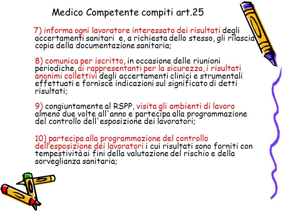 Medico Competente compiti art.25