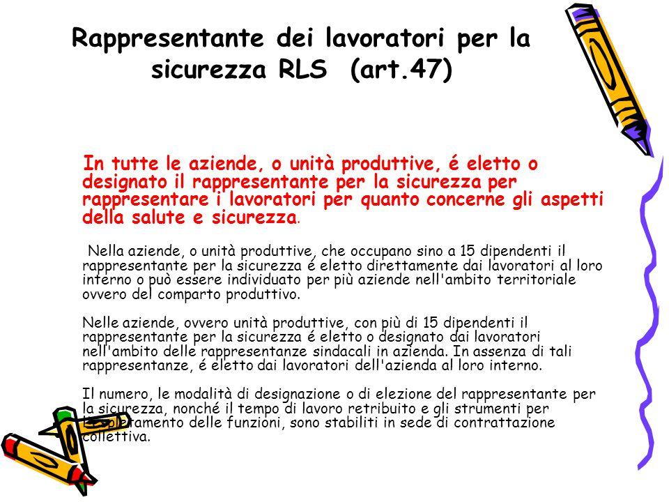Rappresentante dei lavoratori per la sicurezza RLS (art.47)