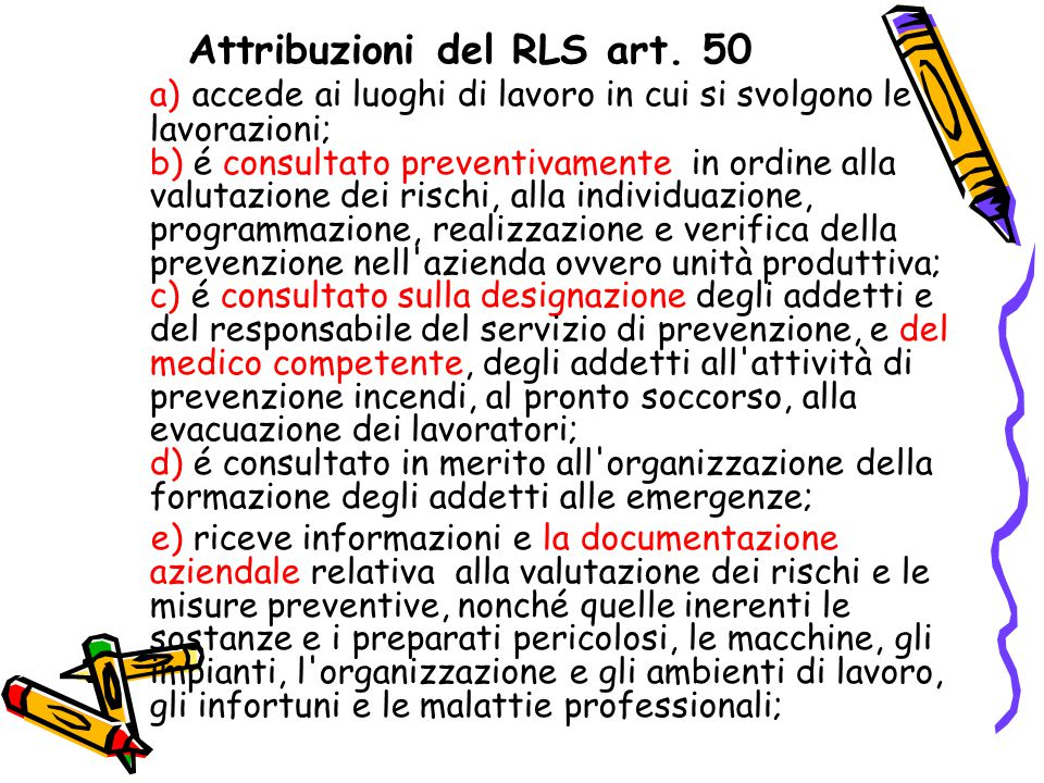 Attribuzioni del RLS art. 50