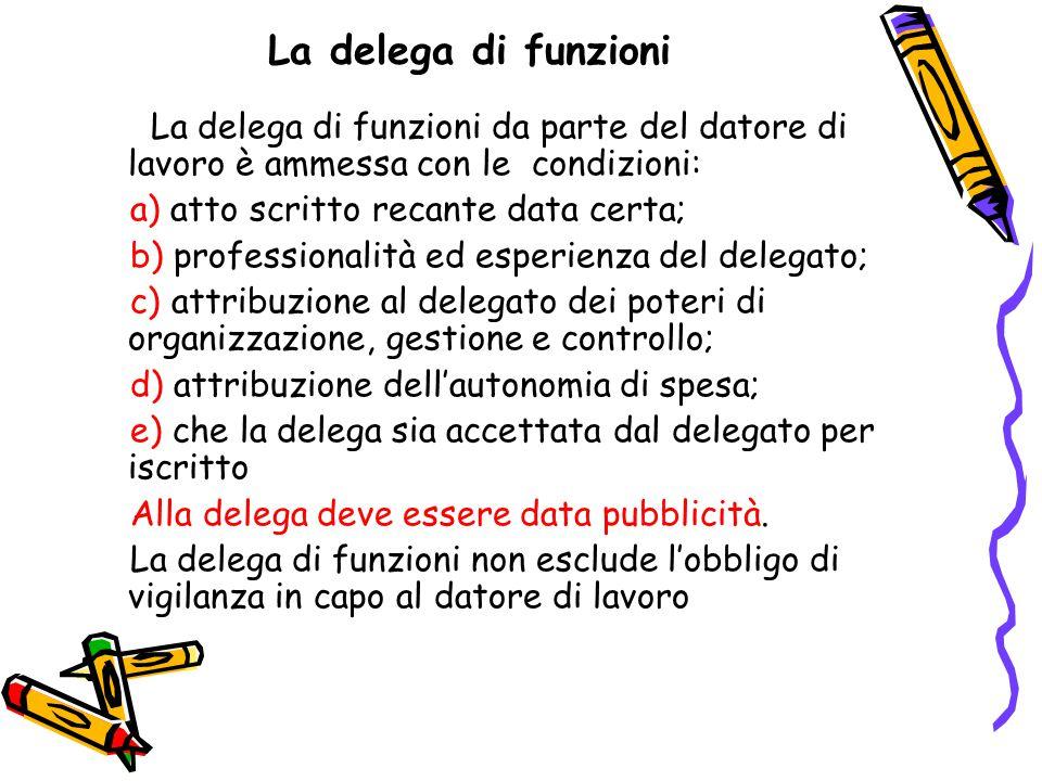 La delega di funzioni La delega di funzioni da parte del datore di lavoro è ammessa con le condizioni: