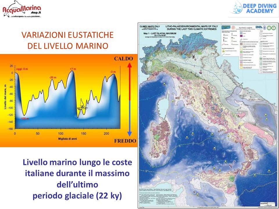 Livello marino lungo le coste italiane durante il massimo dell'ultimo