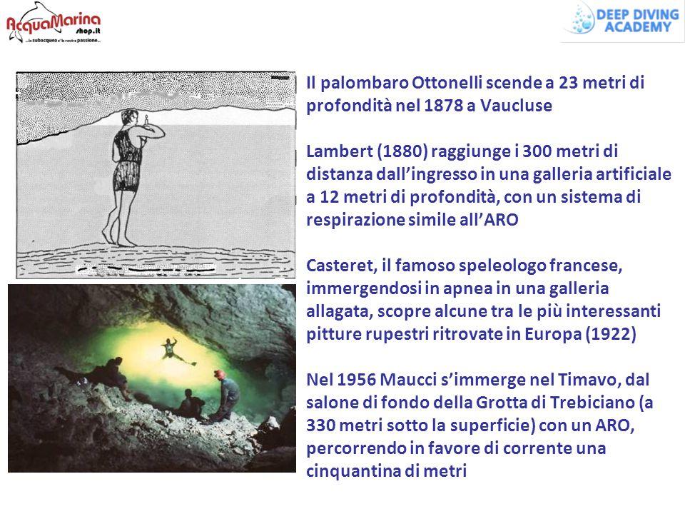 Il palombaro Ottonelli scende a 23 metri di profondità nel 1878 a Vaucluse Lambert (1880) raggiunge i 300 metri di distanza dall'ingresso in una galleria artificiale a 12 metri di profondità, con un sistema di respirazione simile all'ARO Casteret, il famoso speleologo francese, immergendosi in apnea in una galleria allagata, scopre alcune tra le più interessanti pitture rupestri ritrovate in Europa (1922) Nel 1956 Maucci s'immerge nel Timavo, dal salone di fondo della Grotta di Trebiciano (a 330 metri sotto la superficie) con un ARO, percorrendo in favore di corrente una cinquantina di metri