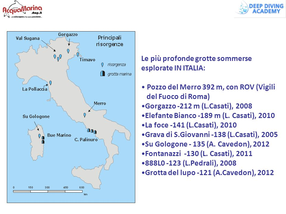 Le più profonde grotte sommerse esplorate IN ITALIA: