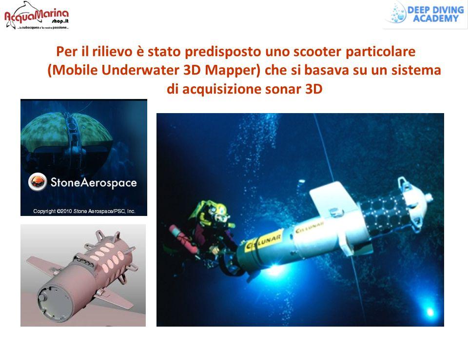 Per il rilievo è stato predisposto uno scooter particolare (Mobile Underwater 3D Mapper) che si basava su un sistema di acquisizione sonar 3D