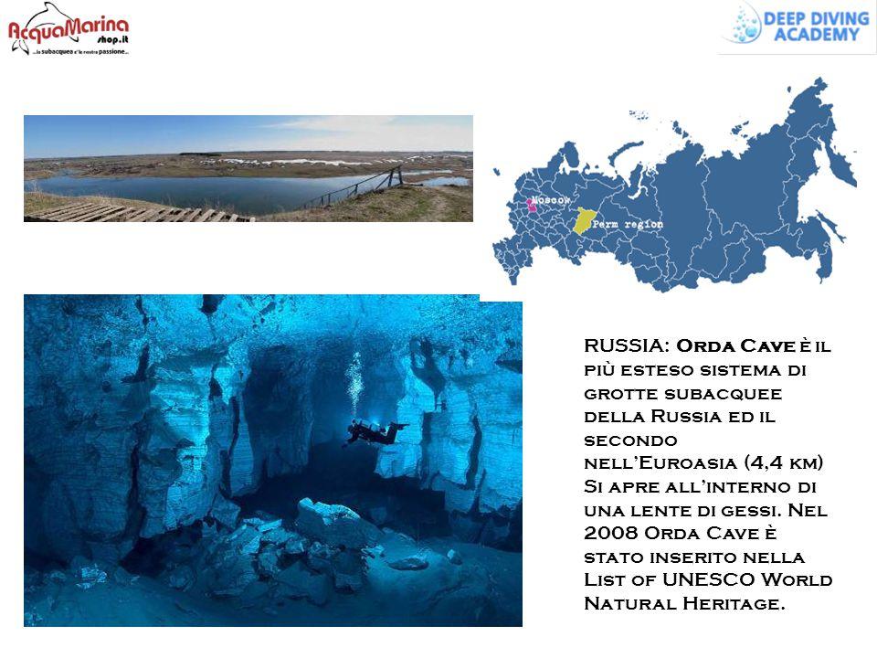 RUSSIA: Orda Cave è il più esteso sistema di grotte subacquee della Russia ed il secondo nell'Euroasia (4,4 km) Si apre all'interno di una lente di gessi.