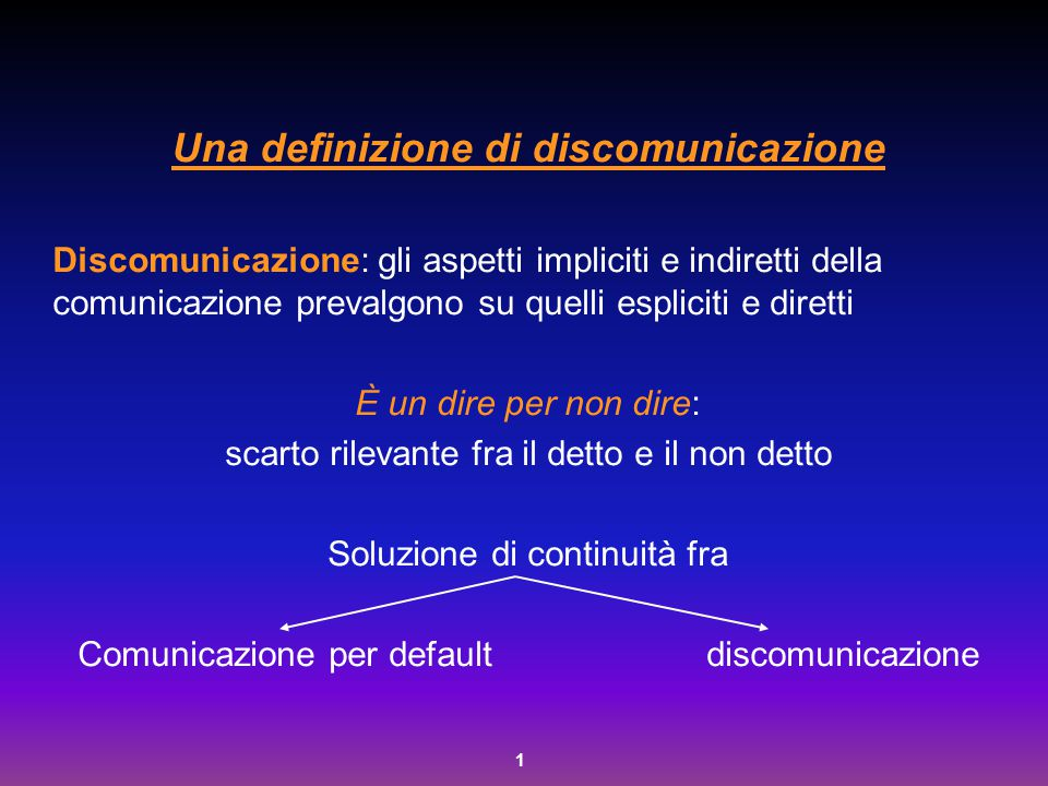 Una definizione di discomunicazione