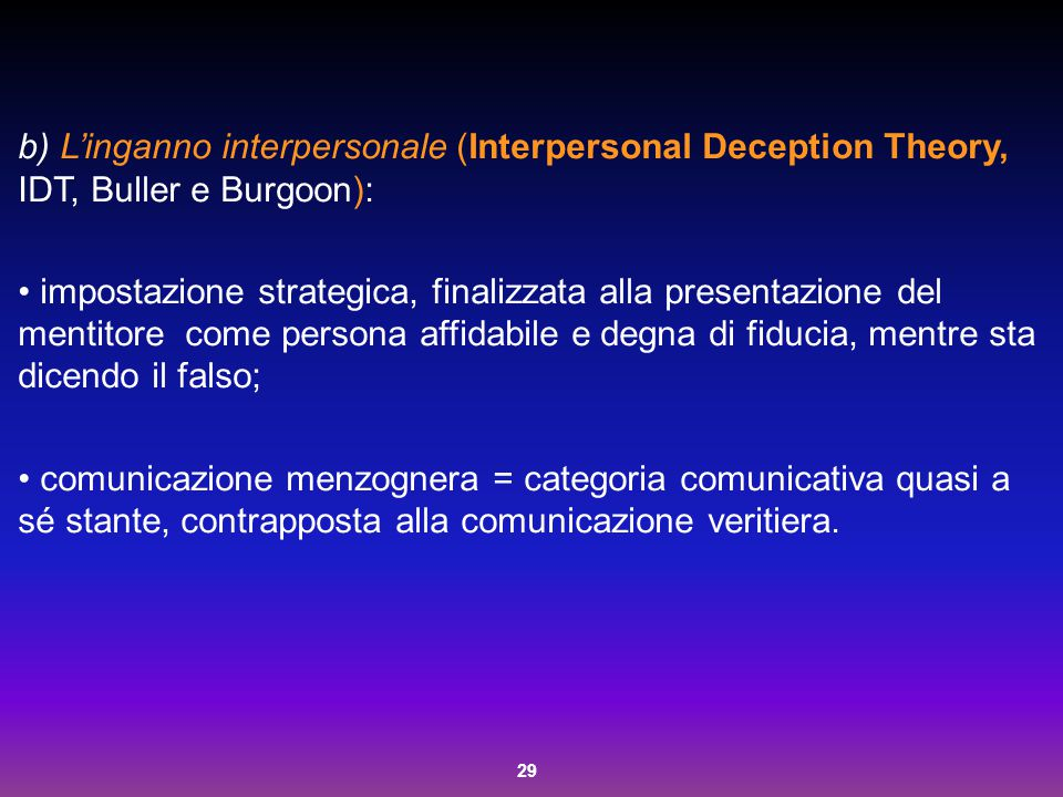 L'inganno interpersonale (Interpersonal Deception Theory, IDT, Buller e Burgoon):