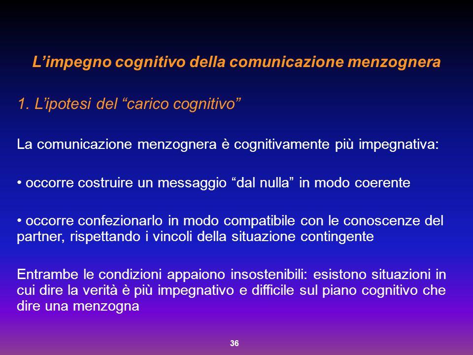 L'impegno cognitivo della comunicazione menzognera