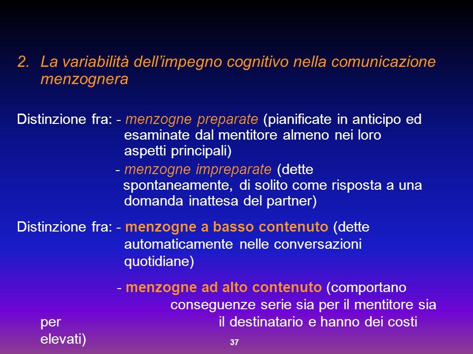La variabilità dell'impegno cognitivo nella comunicazione menzognera