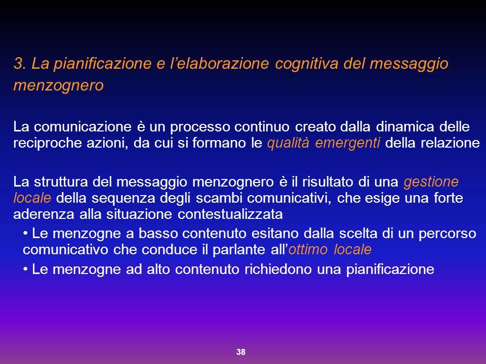 La pianificazione e l'elaborazione cognitiva del messaggio menzognero