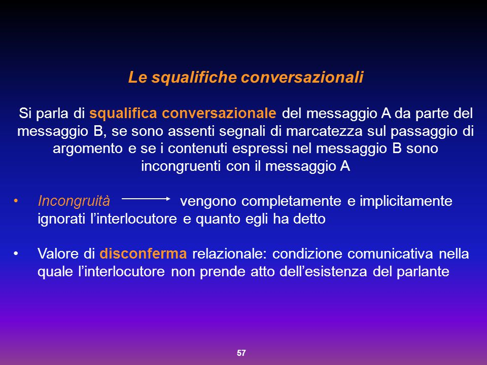 Le squalifiche conversazionali