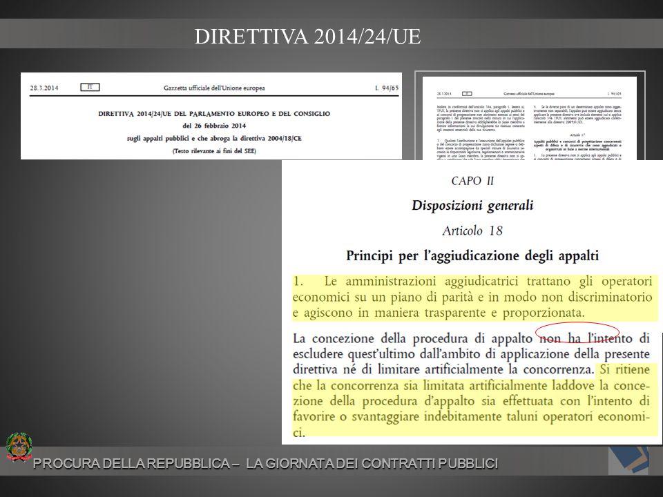DIRETTIVA 2014/24/UE PROCURA DELLA REPUBBLICA – LA GIORNATA DEI CONTRATTI PUBBLICI