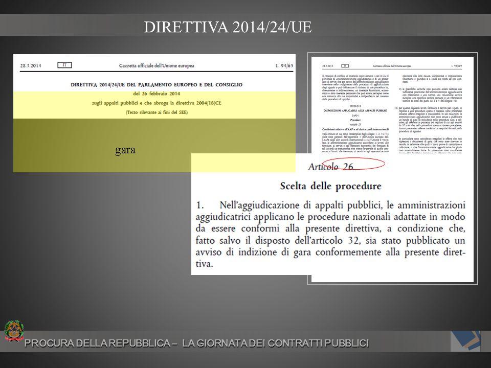 DIRETTIVA 2014/24/UE gara PROCURA DELLA REPUBBLICA – LA GIORNATA DEI CONTRATTI PUBBLICI