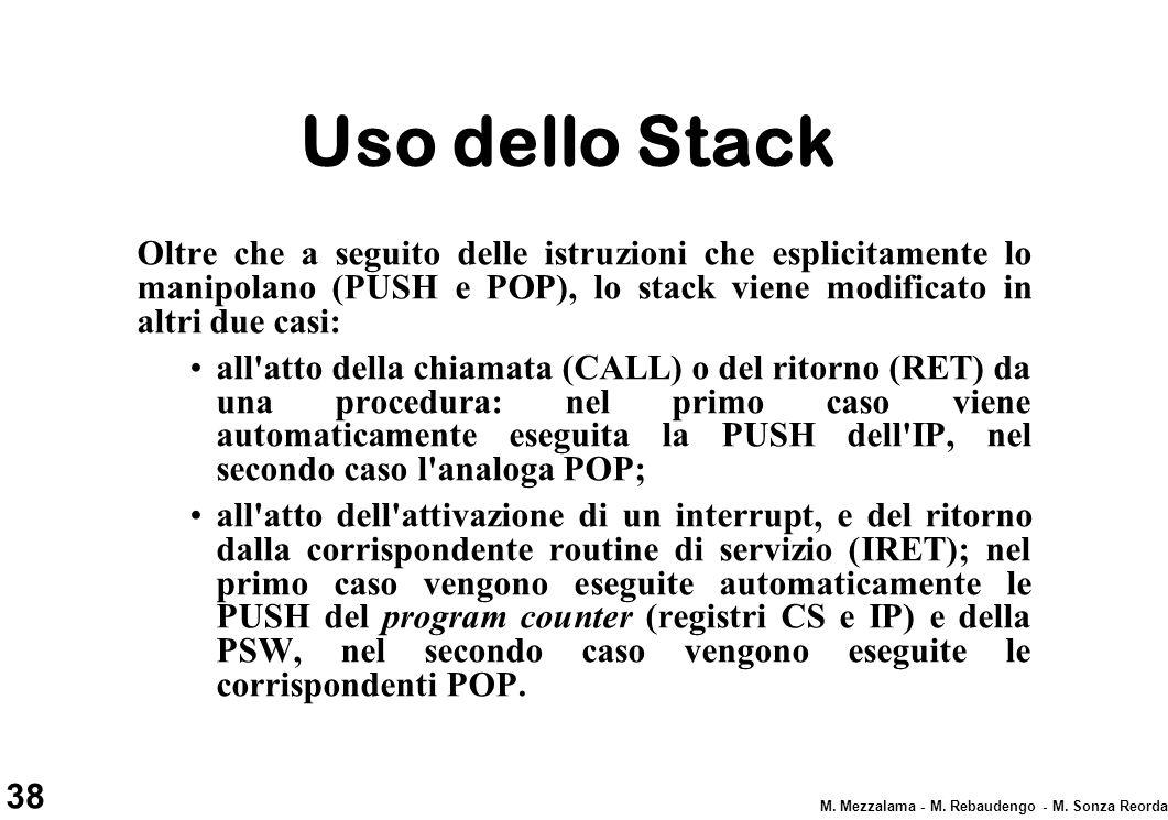 Uso dello Stack Oltre che a seguito delle istruzioni che esplicitamente lo manipolano (PUSH e POP), lo stack viene modificato in altri due casi: