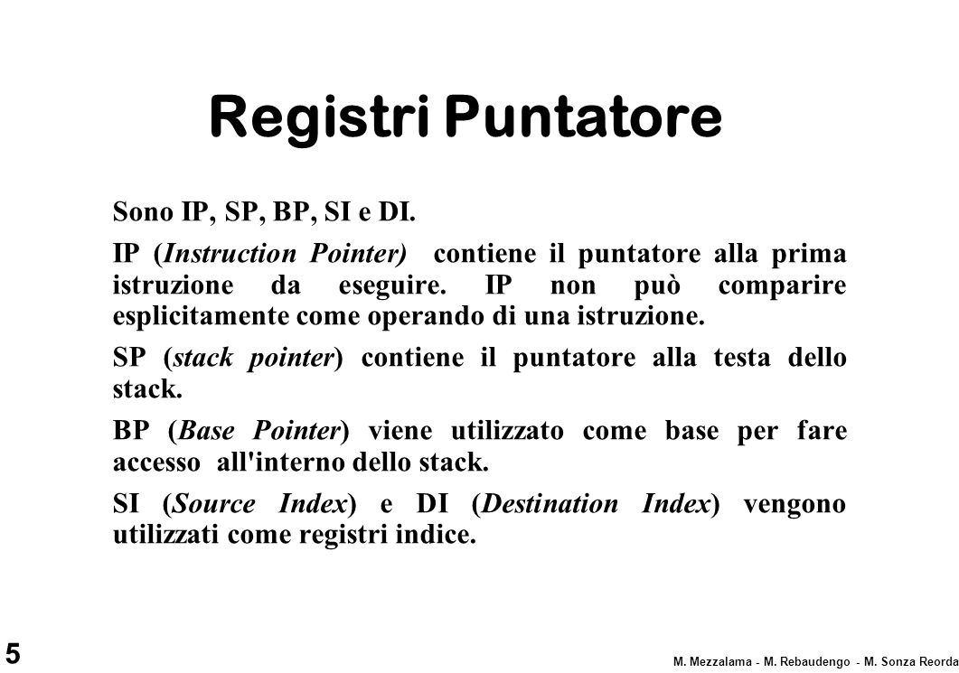 Registri Puntatore Sono IP, SP, BP, SI e DI.