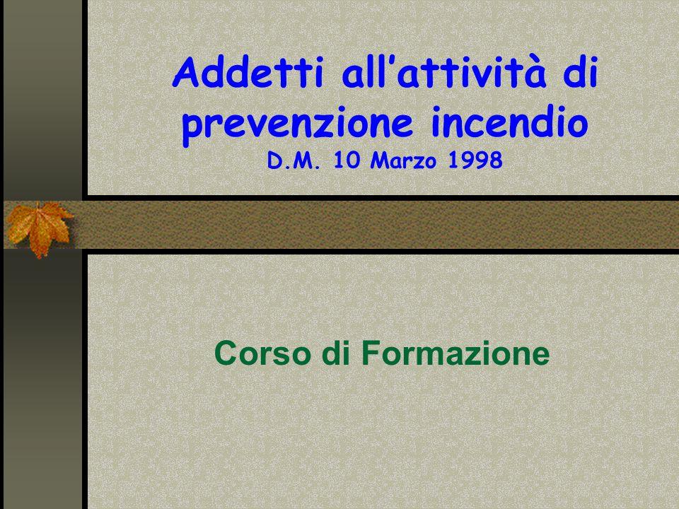 Addetti all'attività di prevenzione incendio D.M. 10 Marzo 1998
