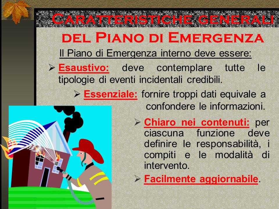 Caratteristiche generali del Piano di Emergenza