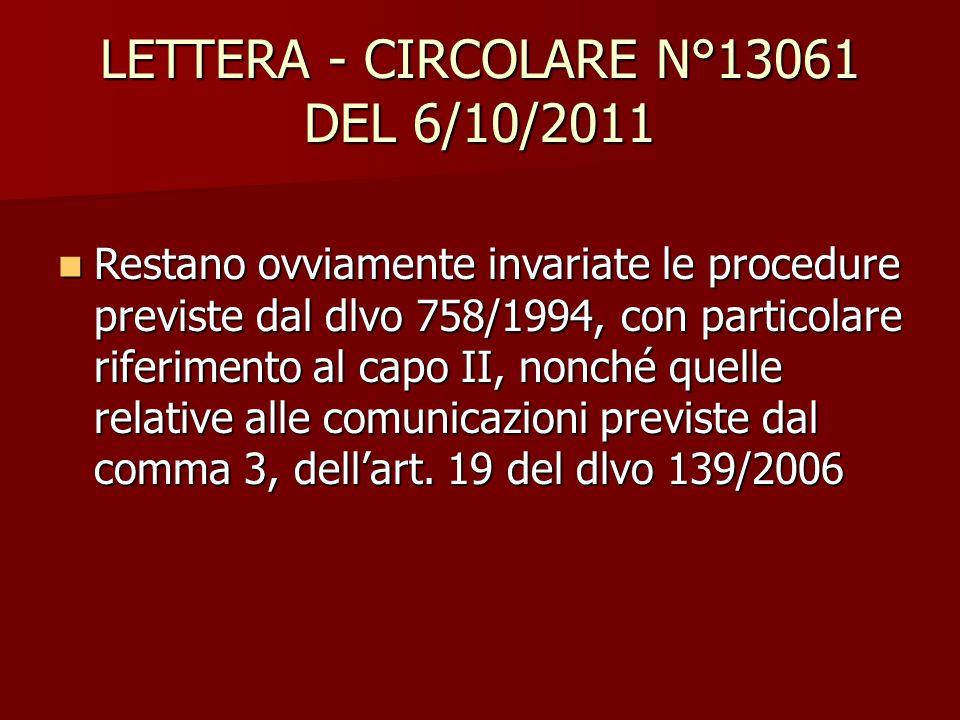 LETTERA - CIRCOLARE N°13061 DEL 6/10/2011