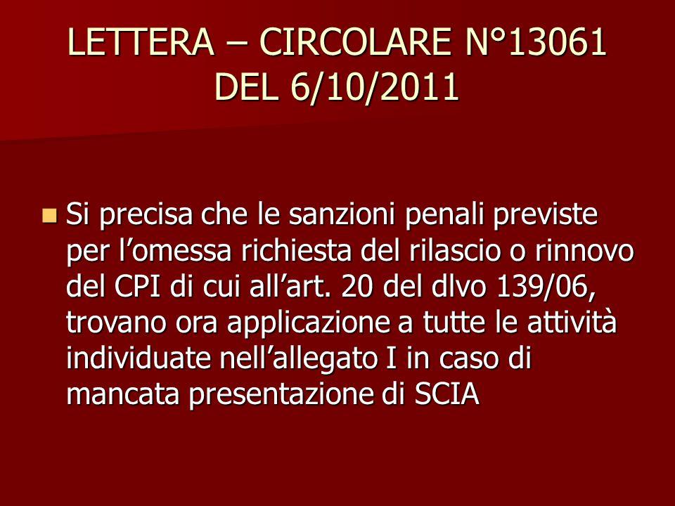 LETTERA – CIRCOLARE N°13061 DEL 6/10/2011