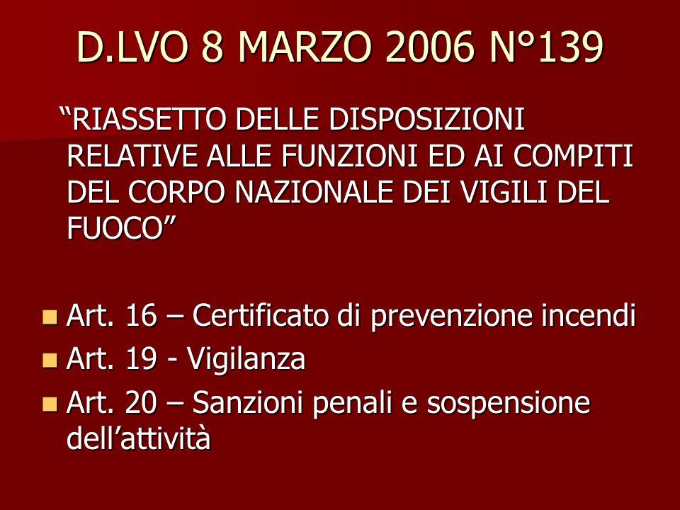 D.LVO 8 MARZO 2006 N°139 RIASSETTO DELLE DISPOSIZIONI RELATIVE ALLE FUNZIONI ED AI COMPITI DEL CORPO NAZIONALE DEI VIGILI DEL FUOCO