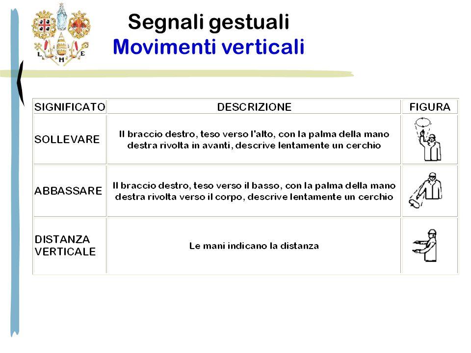 Segnali gestuali Movimenti verticali