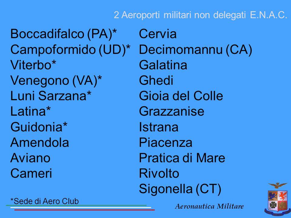 Boccadifalco (PA)* Campoformido (UD)* Viterbo* Venegono (VA)*