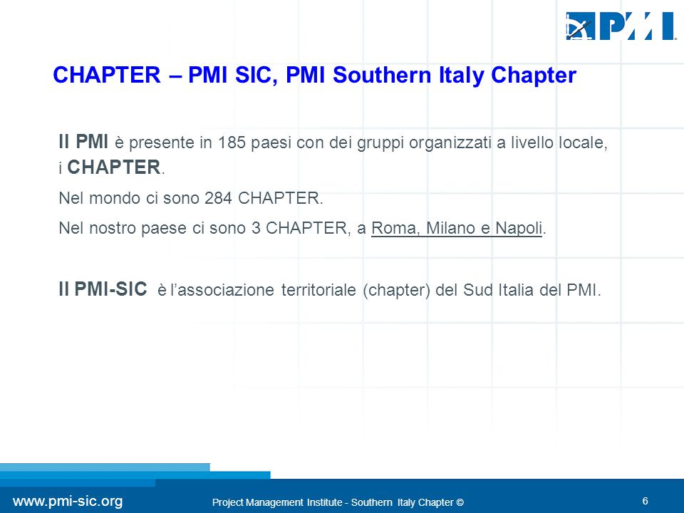 Project Management Institute - Southern Italy Chapter