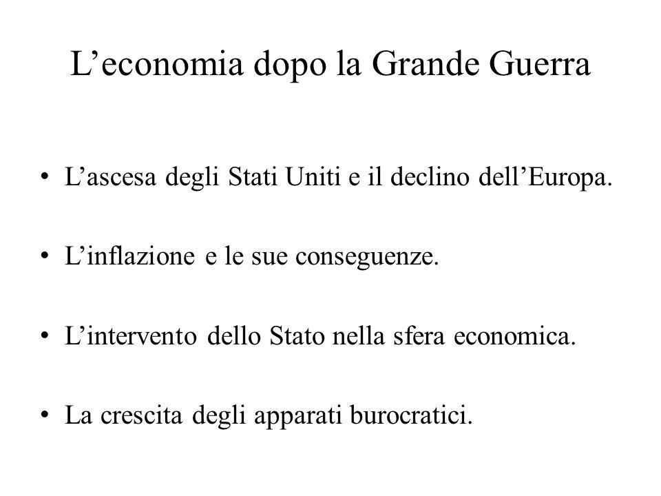 L'economia dopo la Grande Guerra