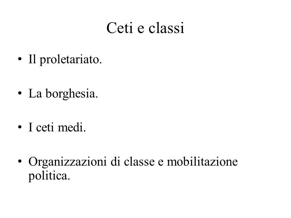 Ceti e classi Il proletariato. La borghesia. I ceti medi.