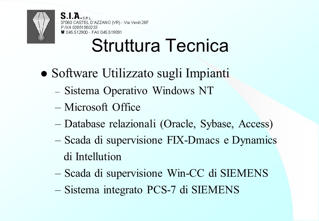 Struttura Tecnica Software Utilizzato sugli Impianti