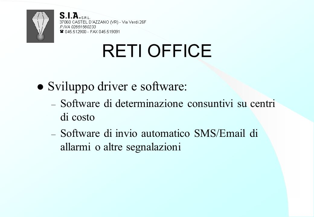 RETI OFFICE Sviluppo driver e software: