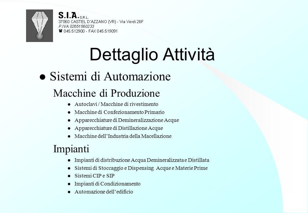 Dettaglio Attività Sistemi di Automazione Macchine di Produzione