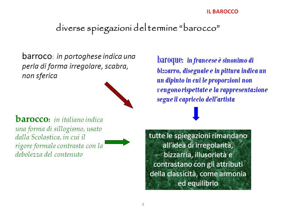 IL BAROCCO diverse spiegazioni del termine barocco barroco: in portoghese indica una perla di forma irregolare, scabra, non sferica.