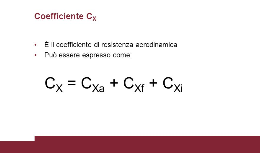 Coefficiente CX È il coefficiente di resistenza aerodinamica