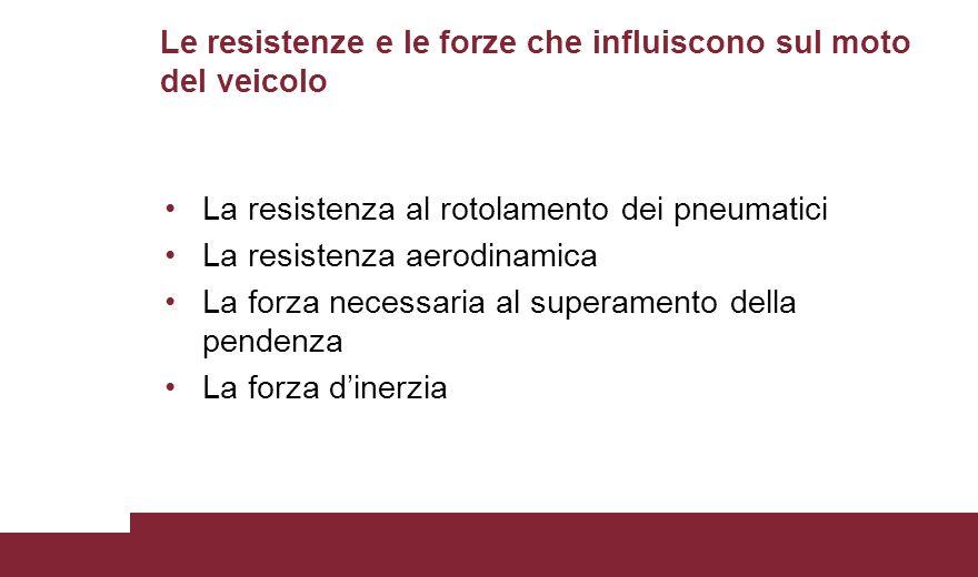Le resistenze e le forze che influiscono sul moto del veicolo
