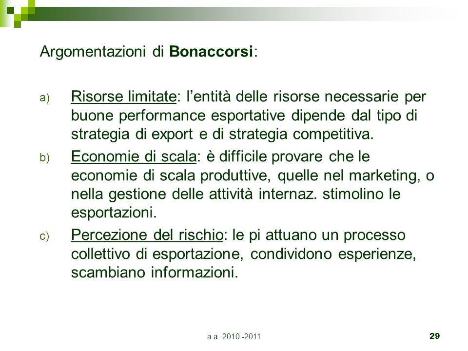 Argomentazioni di Bonaccorsi: